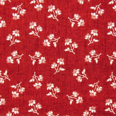 Tela patchwork Toile de Jouy florecitas blancas sobre granate