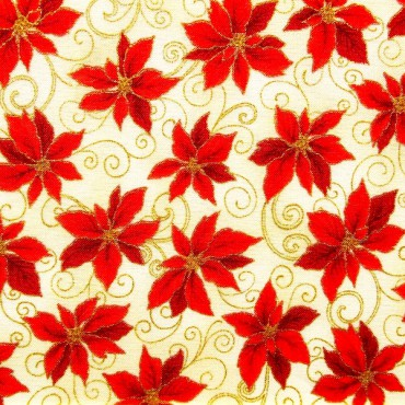 Tela patchwork Holiday Accents Classics poinsetias rojas