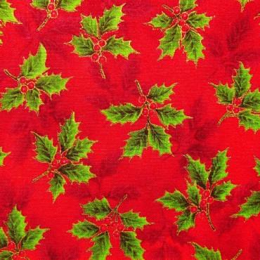 Tela patchwork Holiday Accents Classics ramitas de acebo