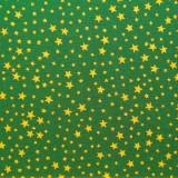 Tela patchwork de Navidad estrellitas doradas sobre verde oscuro 1