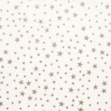 Tela patchwork de Navidad estrellitas plateadas sobre blanco