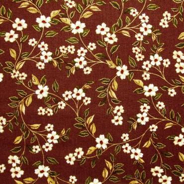 Tela patchwork Carmen entramado de florecitas sobre marrón