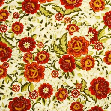 Tela patchwork Carmen flores en naranja óxido