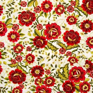 Tela patchwork Carmen flores en rojo