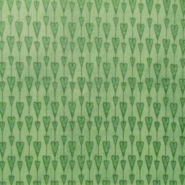 Tela patchwork Mirabelle guirnalda de corazones en verde