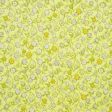 Tela patchwork Soho Calicos entramado de florecitas sobre verde