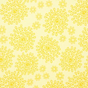 Tela patchwork Lulabelle medallones de pétalos en amarillo
