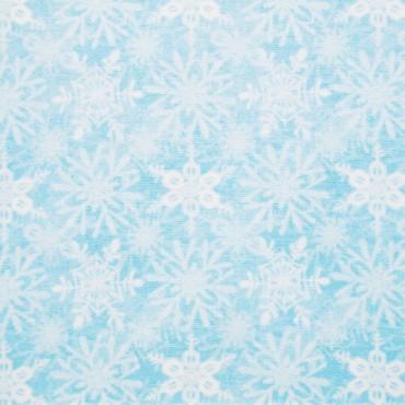 Tela patchwork de Navidad Snow Fun cristales de hielo sobre azul