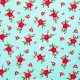 Tela patchwork de Navidad Pixie Noel poinsetias sobre azul 1