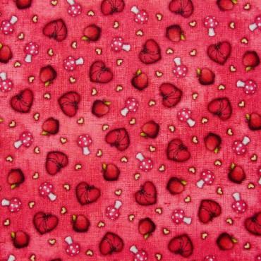 Tela patchwork Gorjuss My Story corazones, setas y manzanas sobre rojo