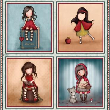 Panel patchwork Gorjuss My Story cuatro muñequitas