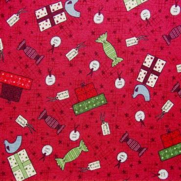 Tela patchwork de Navidad Festive Fun regalos sobre rojo