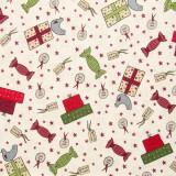 Tela patchwork de Navidad Festive Fun regalos sobre blanco 1