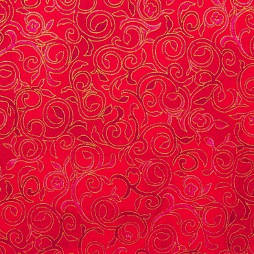 Tela patchwork de Navidad Christmas Bells filigranas en rojo