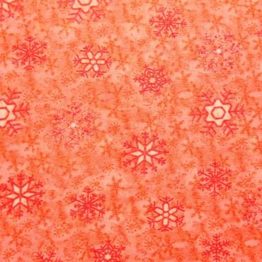 Tela patchwork de Navidad Snow Daze cristales de nieve en naranja