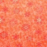 Tela patchwork de Navidad Snow Daze cristales de nieve en naranja 1