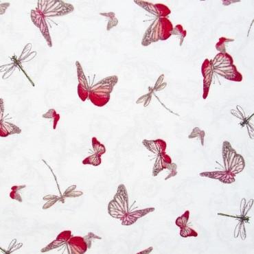 Tela patchwork Mirabelle La Vie en Rose mariposas sobre blanco